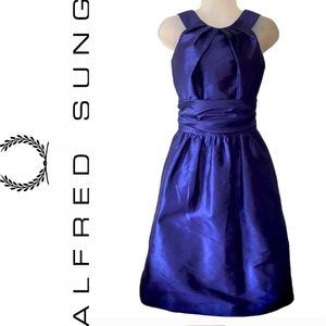 Alfred Sung Royal Blue Halter Party Dress Formal